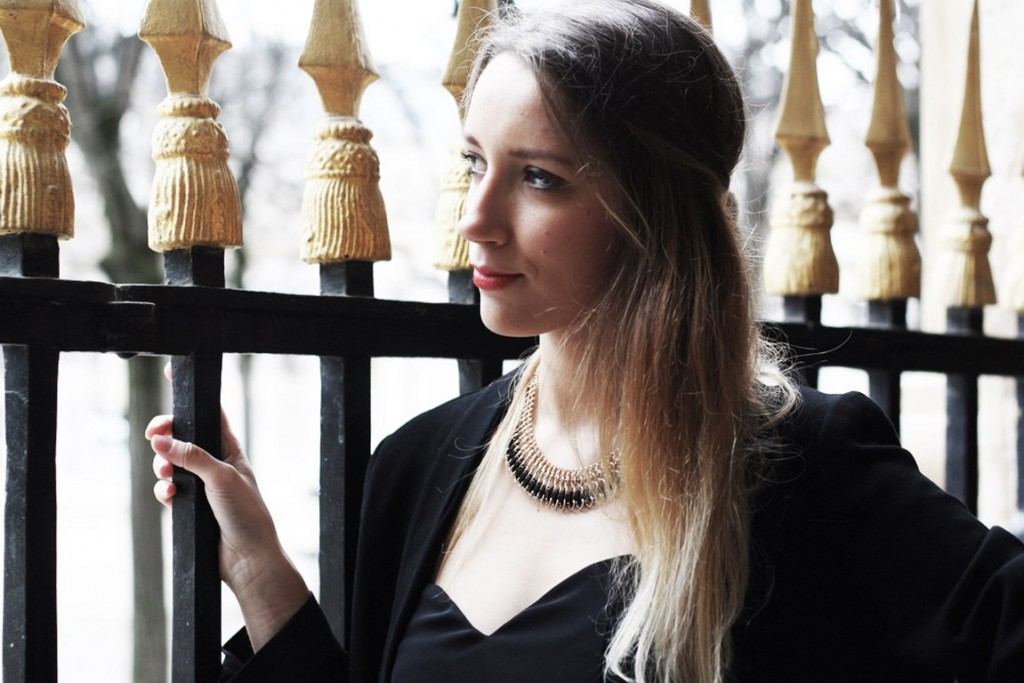 mode, look, fashion, style, decembre, party, soirée, stradivarius, hm, blogger, blonde, combi, black