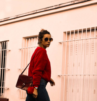 Pull rouge d'hiver